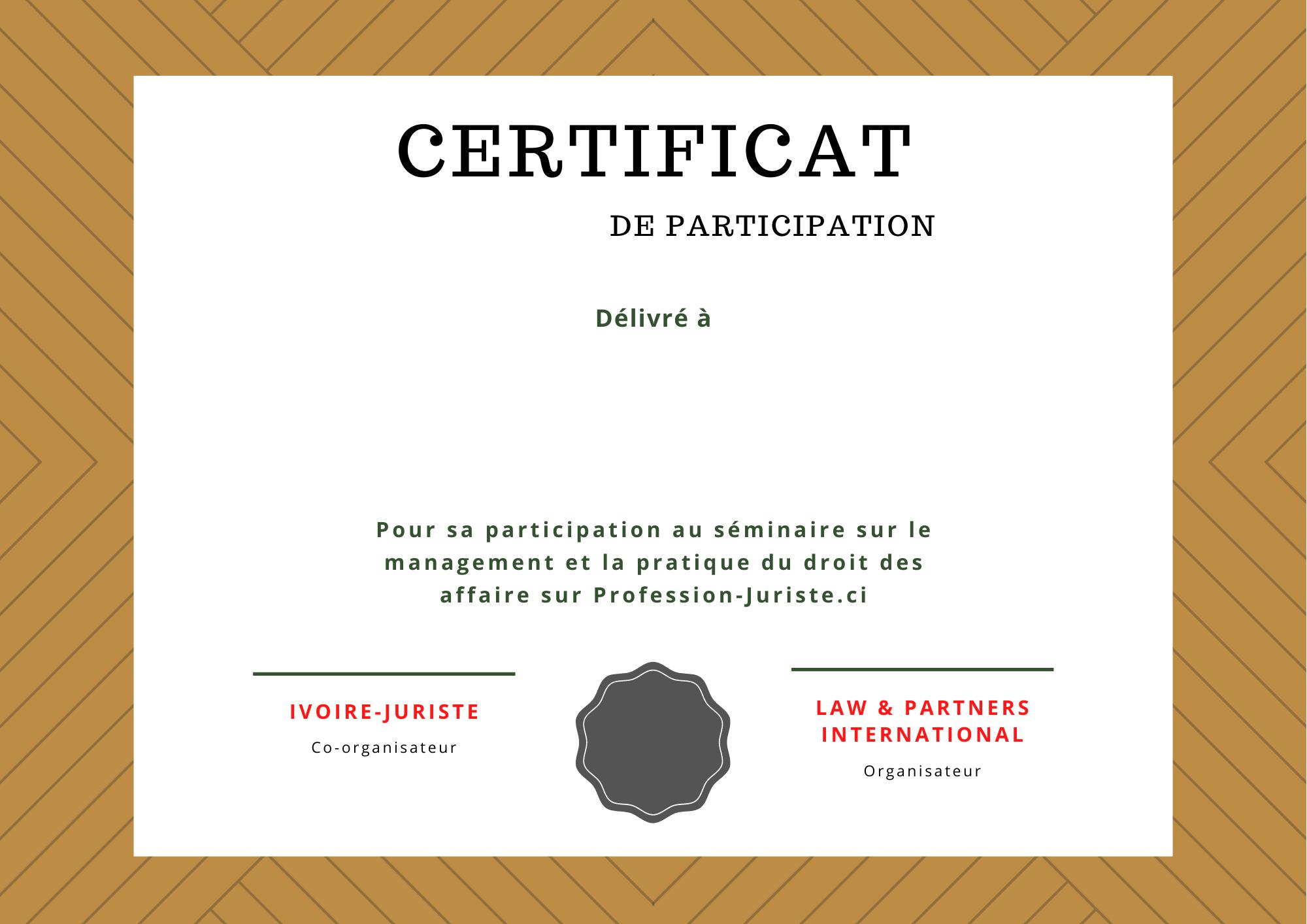 Certificat de participation – Séminaire en droit des affaires