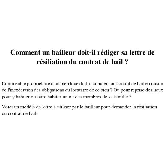 Lettre De Resiliation Du Contrat De Bail D Habitation Par Le Proprietaire Profession Juriste