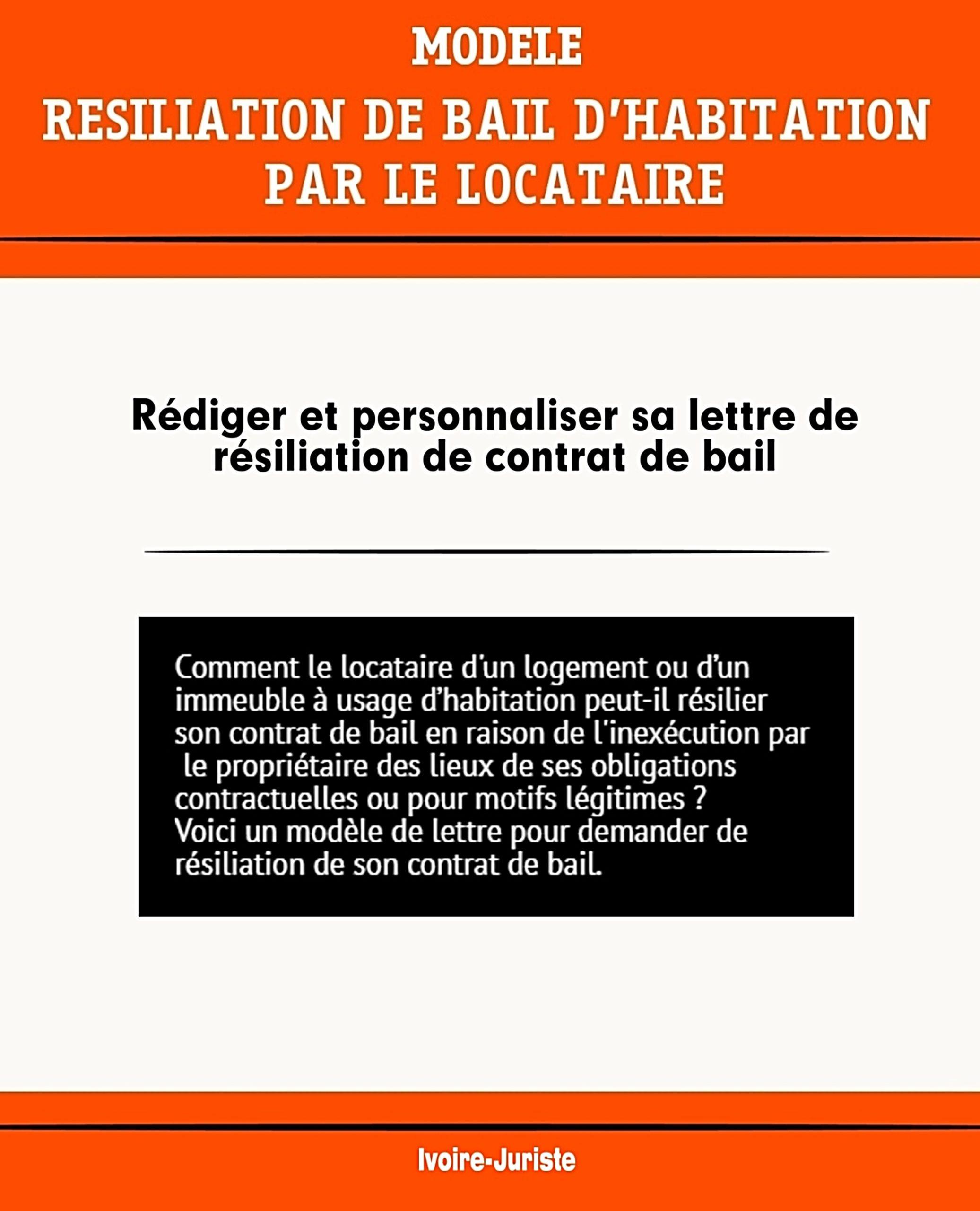 Lettre De Resiliation Du Contrat De Bail D Habitation Par Le Locataire Profession Juriste
