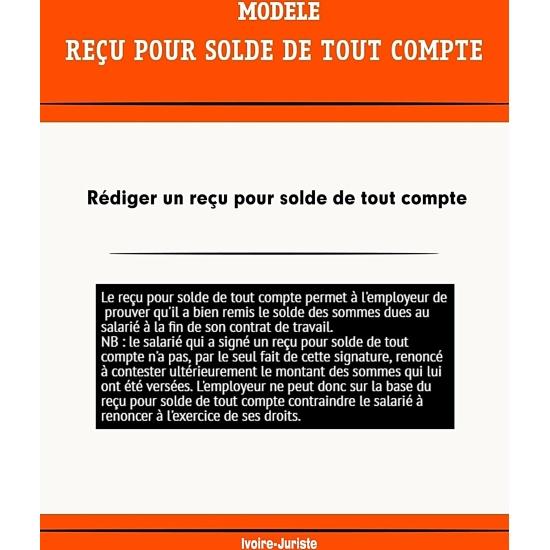 Modele De Recu Pour Solde De Tout Compte Profession Juriste